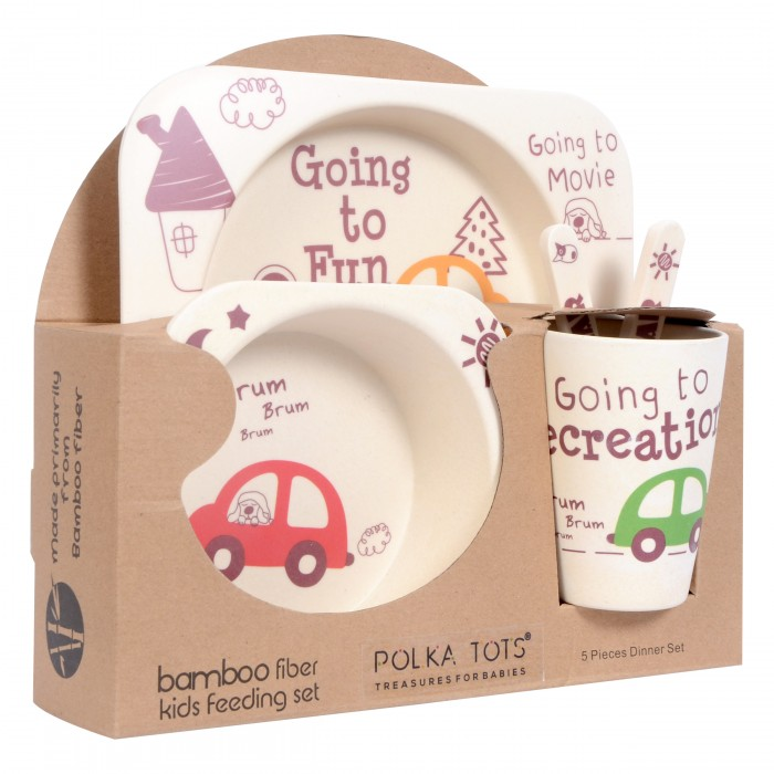 Polka Tots Eco Friendly Bamboo Fibre Kids 5 Pieces Crockery Dining Set - Available in Multi-color