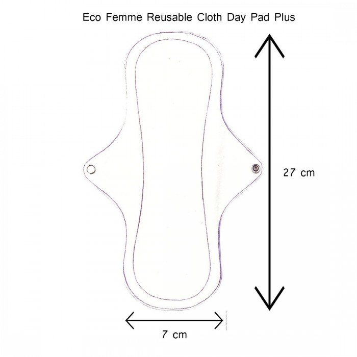 Eco Femme GOTS Certified 1 Day Pad Plus - Natural Organic - Reusable Sanitary Pads / Cloth Menstrual Pads / Washable Cloth Pads