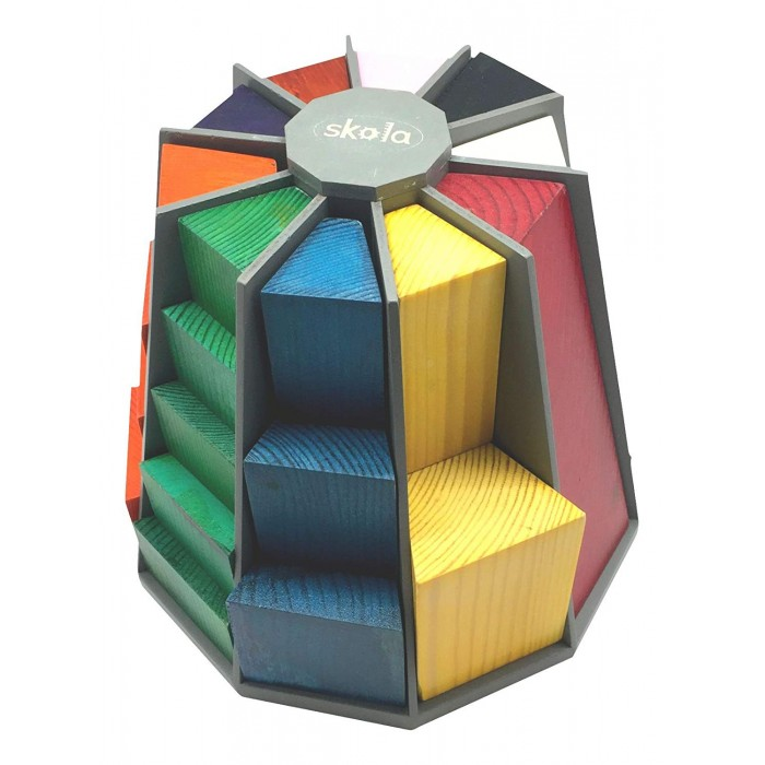 Skola Toys Step Tower - Multicolour - Stacking, Counting, Sorting, Gradation
