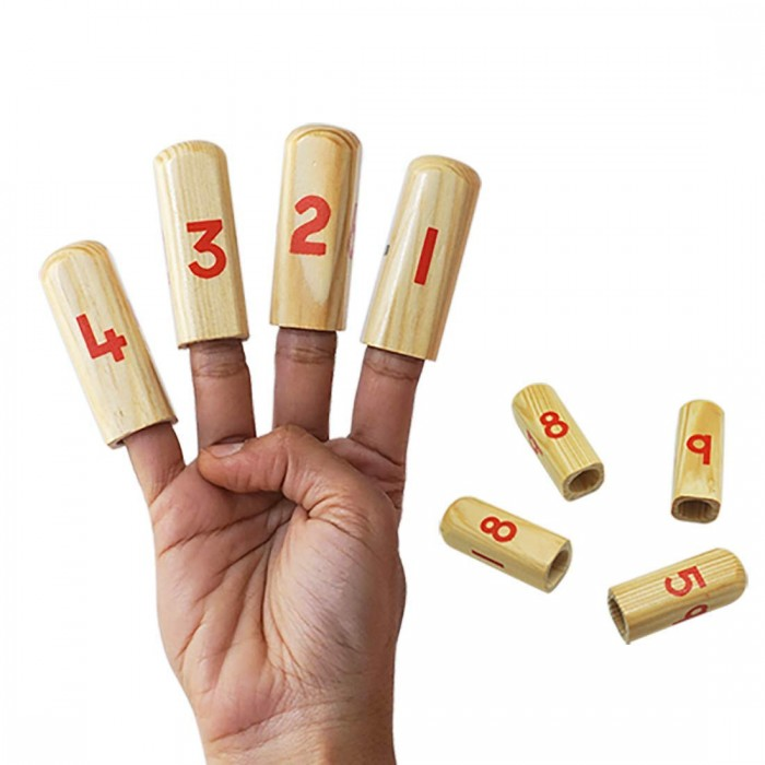 Skola Toys - Number Finger Puppet - Play and Learn with Numbers on Your Fingers - Wooden Educational and Learning Toy for 4+ Year Old