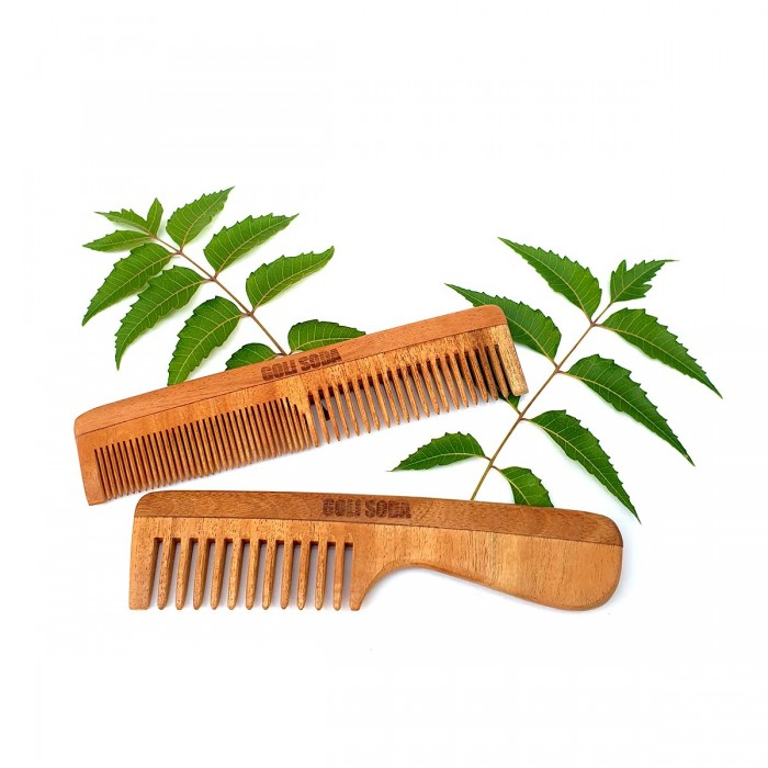 Goli Soda Neem Wood Combs - Wide Tooth with Handle & Double Tooth (Pack of 2)