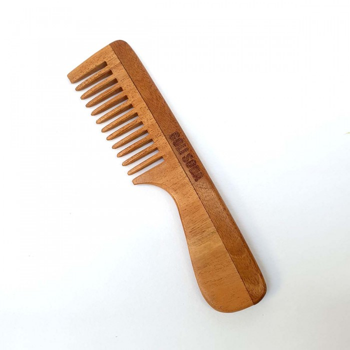 Goli Soda Neem Wood Comb - Wide Tooth with Handle