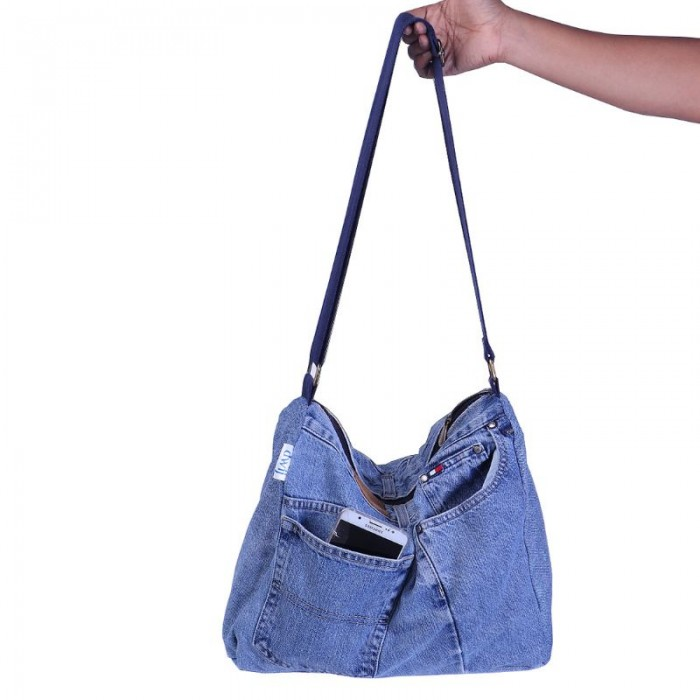 dwij Messenger Bag Made Up Of Upcycled Jeans - Eco Friendly / Unique / Trendy / Washable / Durable