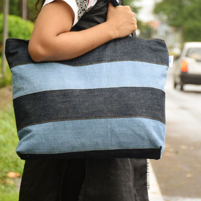 dwij Upbeat Bag Made Up Of Upcycled Jeans - Eco Friendly / Unique / Trendy / Washable / Durable