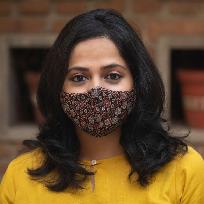 Ajrakh High Nose 2 Layered Face Masks - Pack of 3