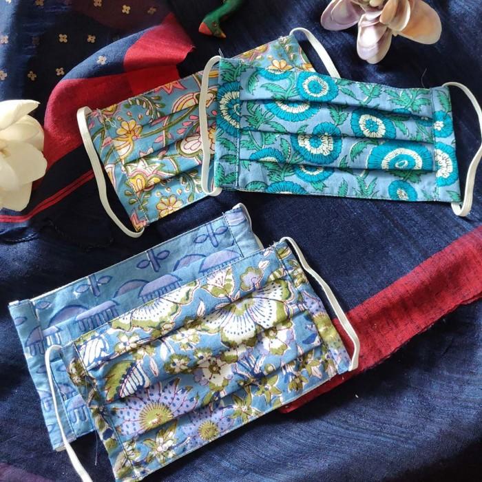 Hand Block Print / Jaipur - Rectangular - 2Ply - Pack of 5