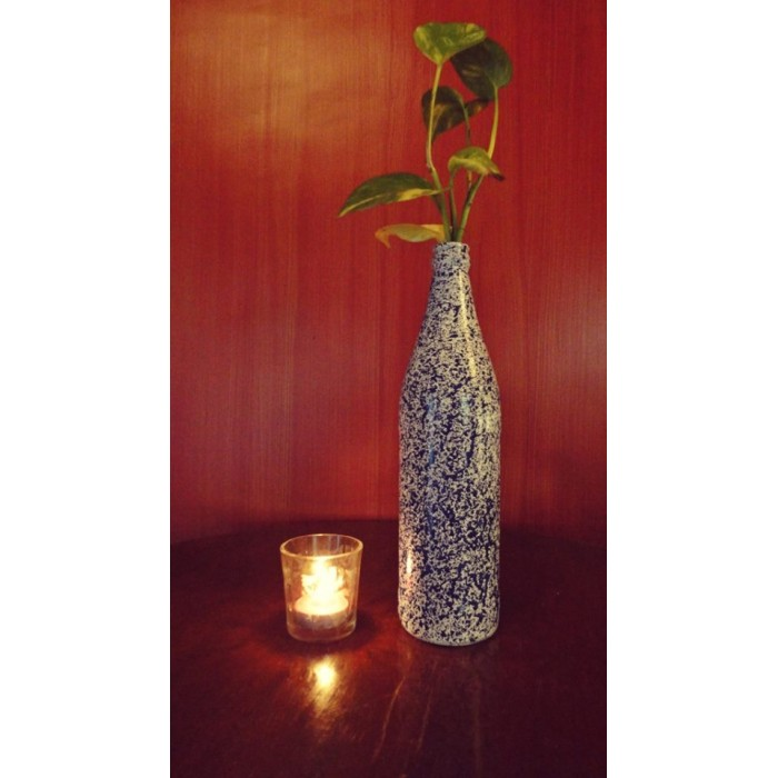 Ashvita Design Studio Up-Cycled Bottles Multi Purpose- Blue / Pink/ Green Flower vase