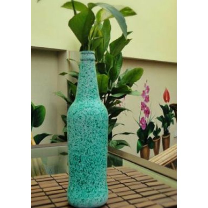Ashvita Design Studio Up-Cycled Bottles Multi Purpose- Green Flower vase