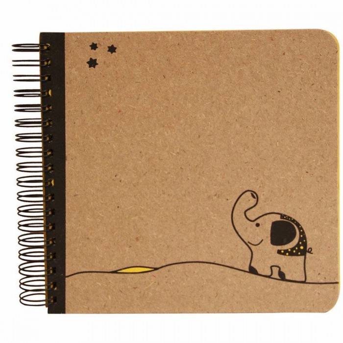 Haathi Chaap Walking Ele Spiral Bound Yellow Album cum Scrapbook Large / 15 Pages - Elephant Dung Paper and Colored Handmade Paper