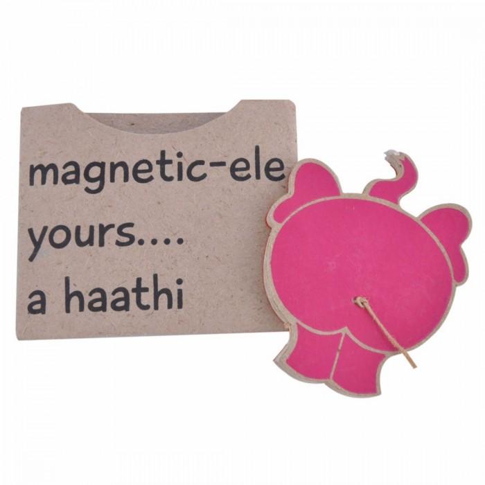 Haathi Chaap Elephant Bum Pink Coloured Fridge Magnet - Ele Poo Paper
