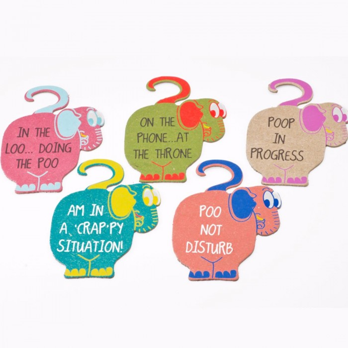 Haathi Chaap Multi-Color Ele Dung and Cotton Paper Bathroom Door Hangers - Set of 5 with Cover