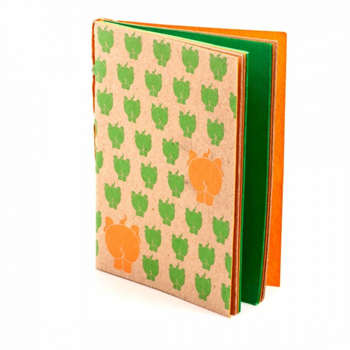 Haathi Chaap Soft Cover Green Notebook Large / 30 pages - Elephant Poo Paper