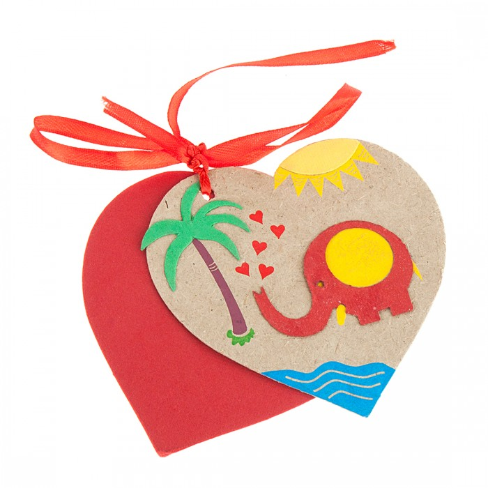 Haathi Chaap Blue & Red Coloured Elephant Heart Tags With Paper (Set of 2) - Elephant Dung Paper