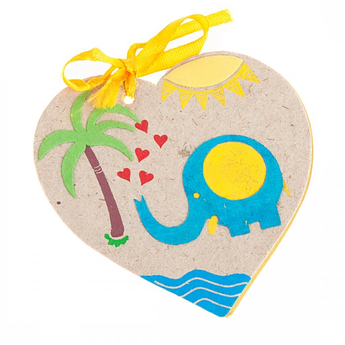 Haathi Chaap Blue Elephant Heart Tags With Paper - Elephant Dung Paper