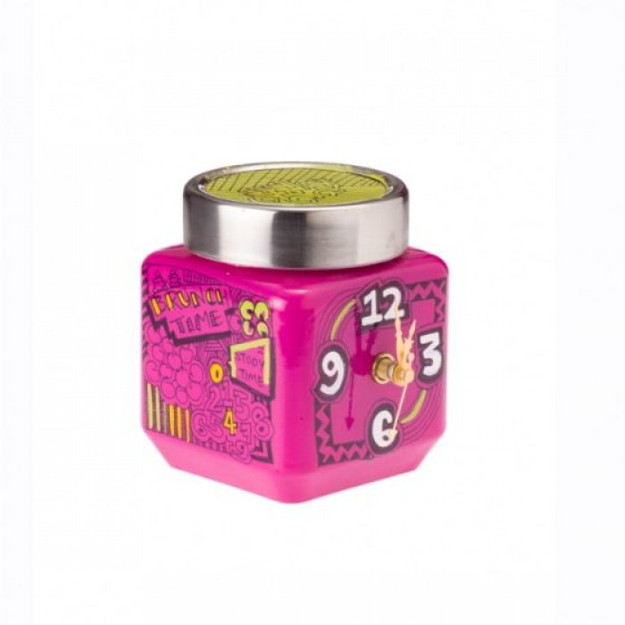 Accidental Art-Desk Clock-Upcycled Container-Pink
