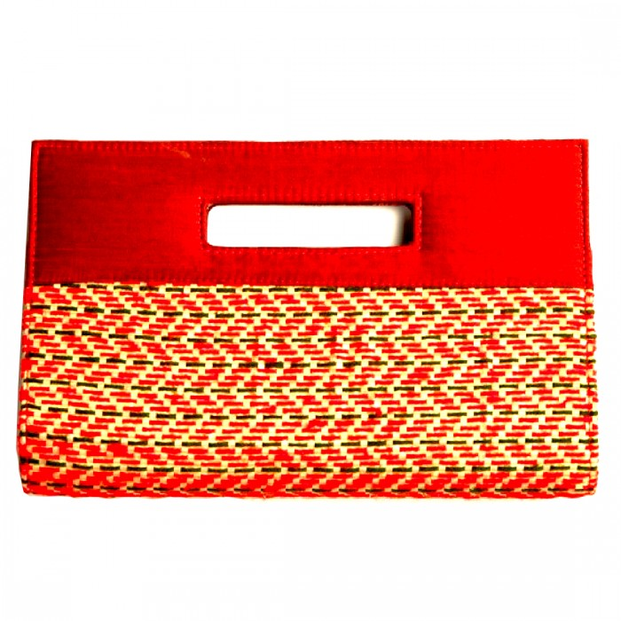 Anu Life-Square Handle Clutch-Upcycled Rice Bag