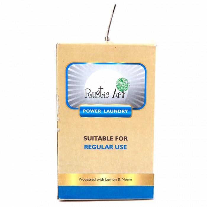 Rustic Art Natural Power Laundry Powder (1Kg) / Regular use - Eco Friendly, Chemical Free - Natural Neem Soap Powder, Lemon Extract, Borax, Neutralized Soda Ash, Acid Slurry