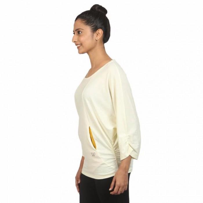 Deivee - Cream Batwing Comfy Yoga Top - Organic Cotton