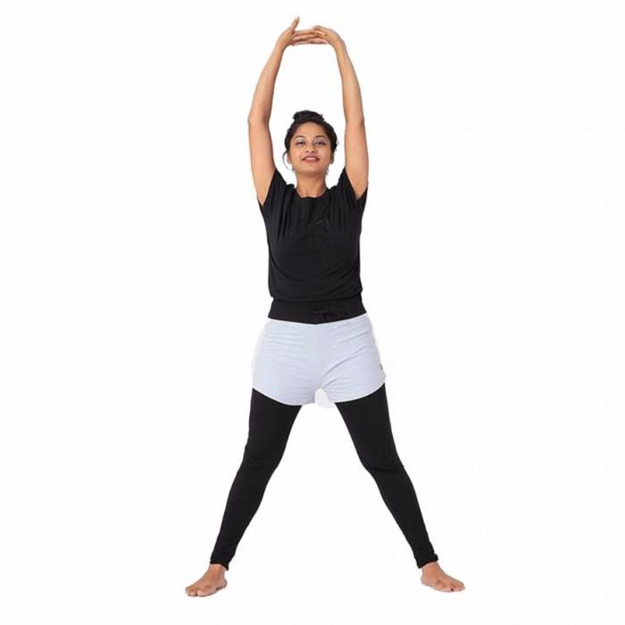 Deivee - Black & Grey Layered Tights with Shorts - Organic Cotton