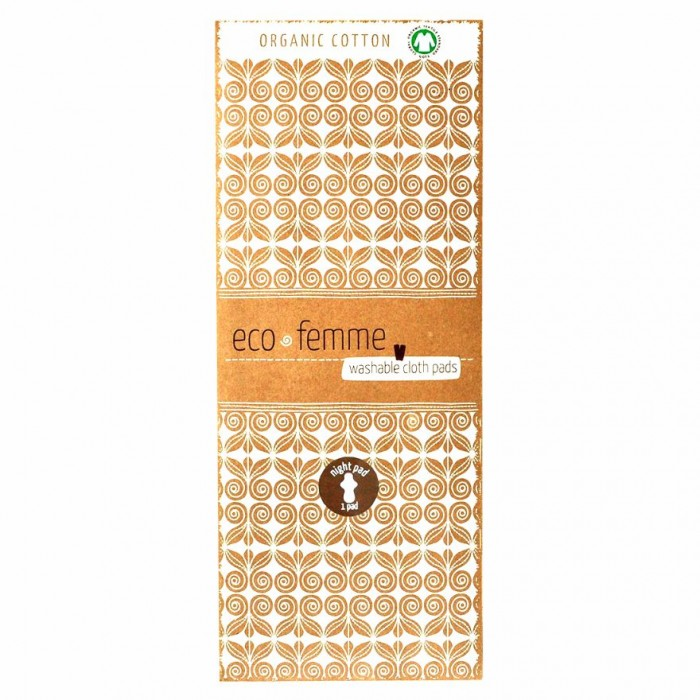 Eco Femme - GOTS Certified Night Pad - Natural Organic - Reusable Sanitary Pads / Cloth Menstrual Pads / Washable Cloth Pads