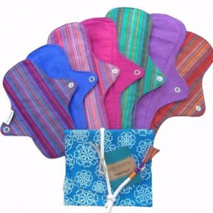 Eco Femme GOTS Certified Full Cycle Kit (Pack of 8)  - Vibrant Organic - Reusable Sanitary Pads / Cloth Menstrual Pads / Washable Cloth Pads