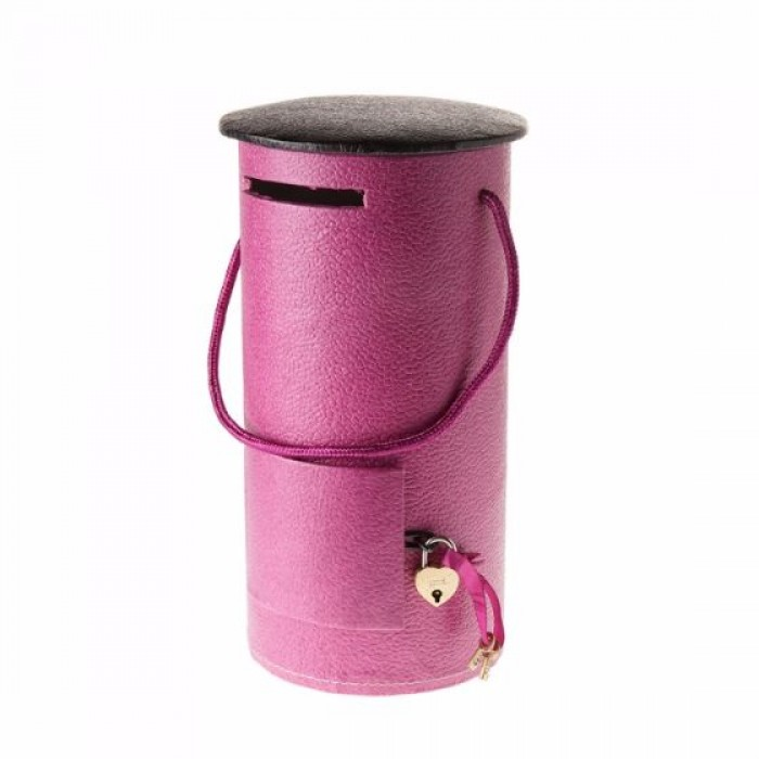 Eco Leatherette Handcrafted Round Piggy Bank-Lilac- Recycled Cotton