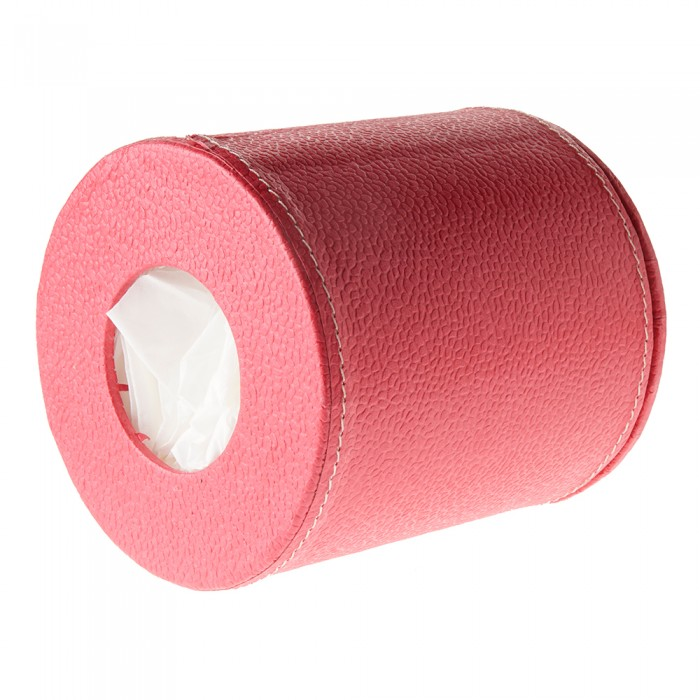 Eco Leatherette Handcrafted Round Tissue Box-Dark Pink- Recycled Cotton