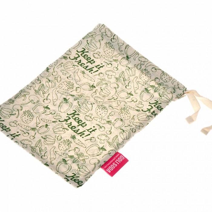 "Golisoda Reusable Cotton Produce Bags / Fruit Vegetable Bags / Fridge Bags / Veggie Bag - Keep it Fresh - Small (11"" x 8"")"