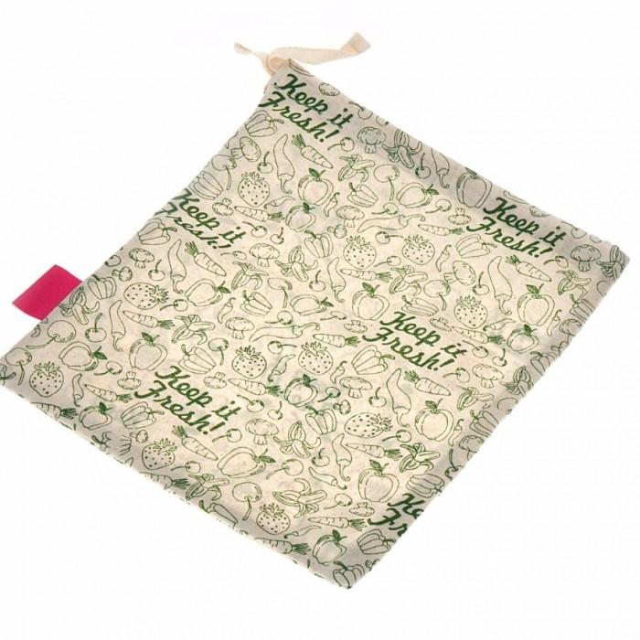 "Golisoda Reusable Cotton Keep it Fresh Produce Bag Medium (Size:12"" x 10"" ) - Fruit Vegetable Bags / Fridge Bags / Veggie Bag"