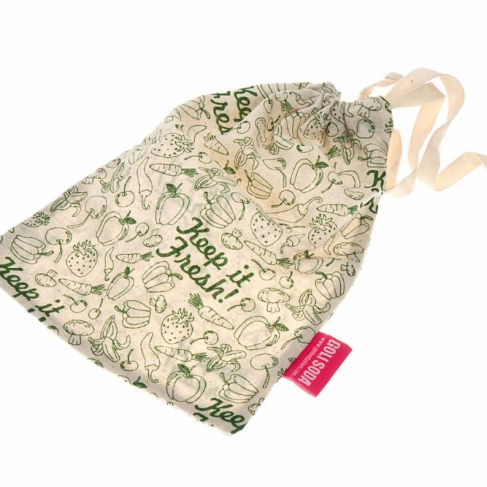 "Golisoda Reusable Cotton Keep it Fresh Produce Bag Big (Size:12"" x 10"" ) - Fruit Vegetable Bags / Fridge Bags / Veggie Bag"