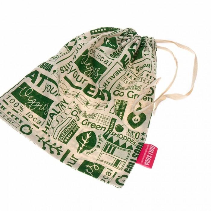 "Golisoda Reusable Cotton Go Green Produce Bag (Small 11"" x 8"") - Fruit Vegetable Bags / Fridge Bags / Veggie Bag  - Set of 4"