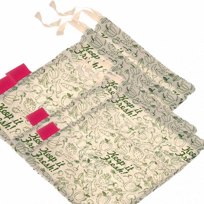 "Golisoda Set of 4 Reusable Cotton Keep it Fresh Produce Bags - Fruit Vegetable Bags / Fridge Bags / Veggie Bag - Small 2 (11"" x 8"") + Big 2 (12"" x 10"")"