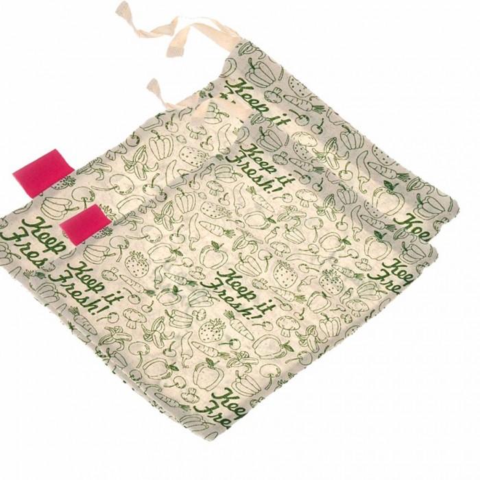 "Golisoda Set of 4 Reusable Cotton Keep it Fresh Produce Bags - Fruit Vegetable Bags / Fridge Bags / Veggie Bag - Small 2 (11"" x 8"") + Medium 2 (12"" x 10"")"