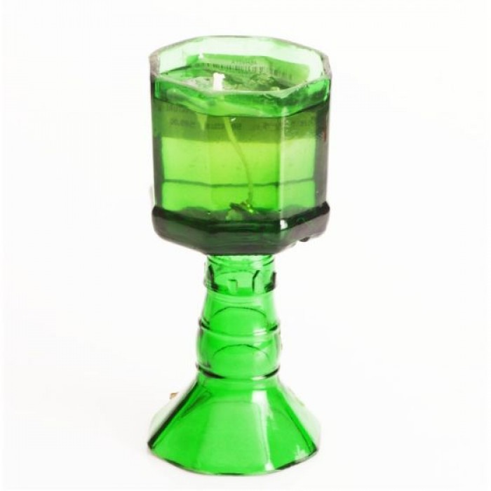 Green The Map Recycled Candle-With Stand-Standing Signature-Green - Upcycled Glass Bottle