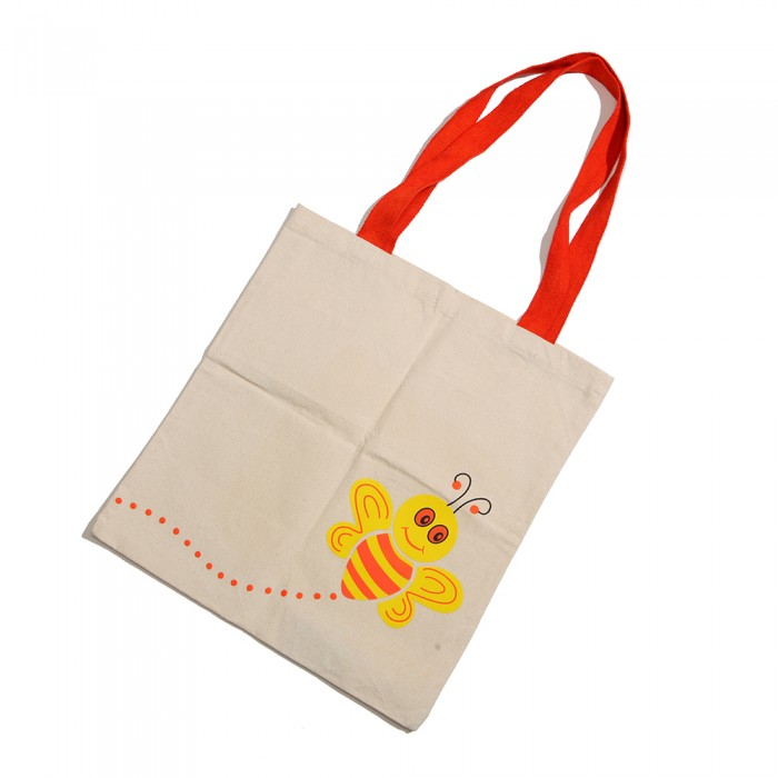 Haathi Chaap Bee Print Orange Canvas Bag / 14 inches - 100% Cotton Fabric