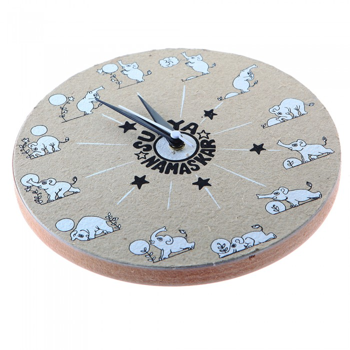 Haathi Chaap Grey Coloured Surya Namaskar Word Wall Clock Without Glass - Recycled Elephant Dung Paper