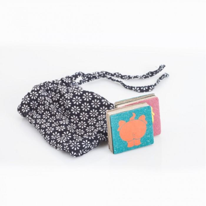Haathi Chaap Multi Colour Magnetic Poo Blocks (Set of 2) - Elephant Poo Paper & Handmade Cotton Paper.