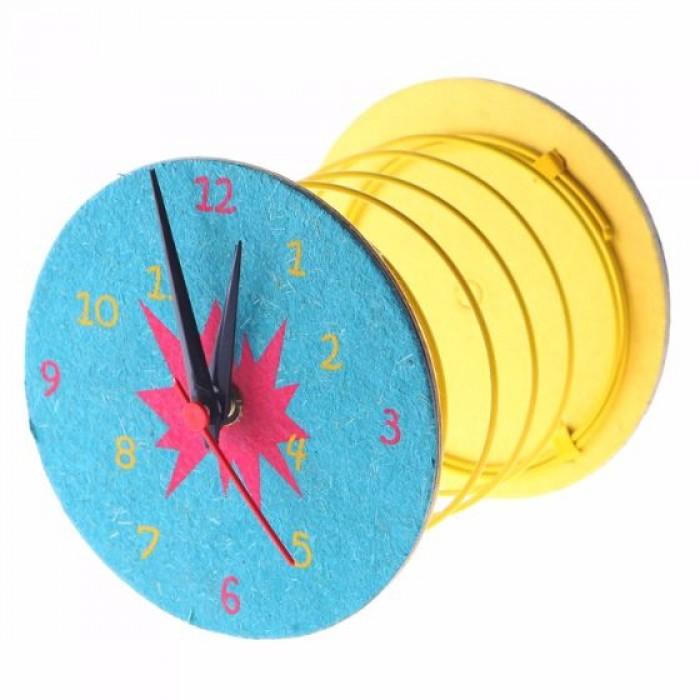 Haathi Chaap Blue Coloured Spring Clock / 4.1 inches - Ele Poo Paper with Board & Coloured Ele Cotton Paper