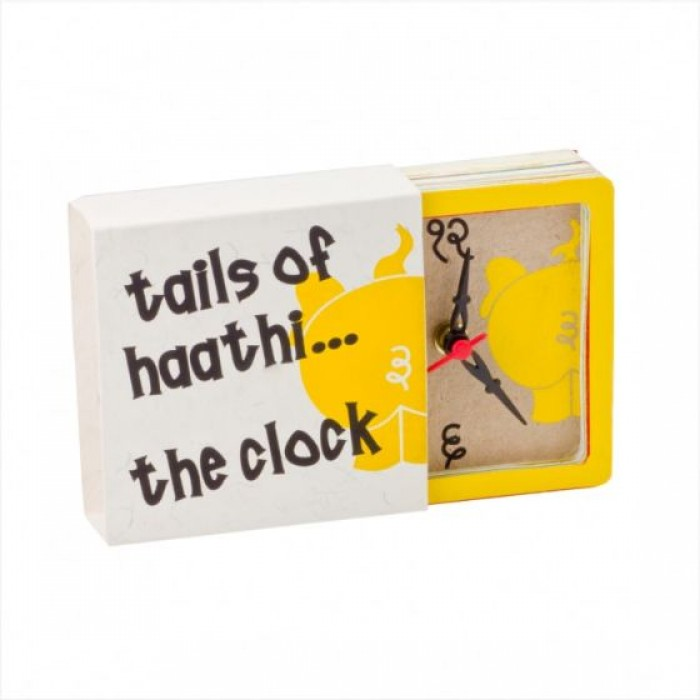 Haathi Chaap Desk Clock Yellow / 4 inches - Recycled Elephant Dung Paper