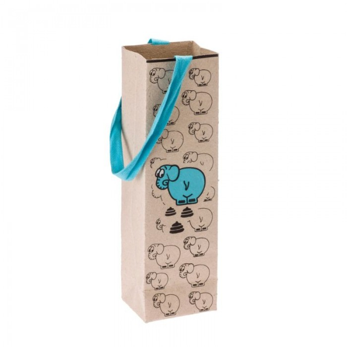 Haathi Chaap Paper Bag-Elephant-Vertical-Blue - Recycled Elephant Dung Paper