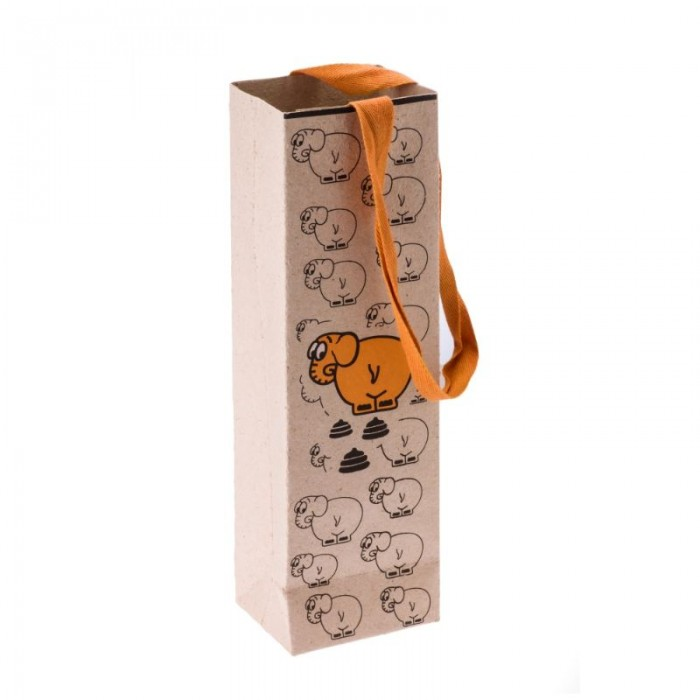 Haathi Chaap Paper Bag-Elephant-Vertical-Orange- Recycled Elephant Dung Paper