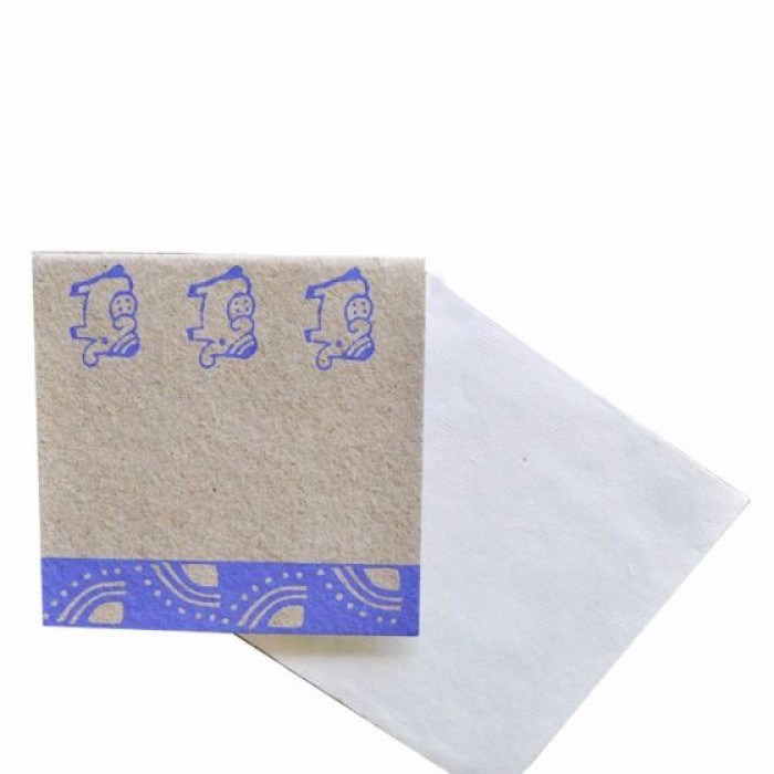 Haathi Chaap Block Printed Greeting Card / 4.4 inches - Elephant Dung Paper & Handmade Cotton Paper