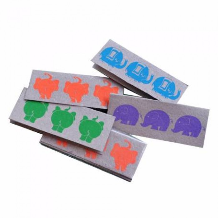 Haathi Chaap Rectangle Multi Coloured Tags Slim Set Of 4- Recycled Elephant Dung Paper