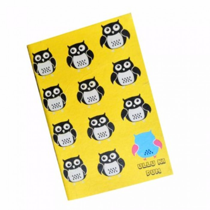 Haathi Chaap Owl Printed Yellow & Blue Coloured Ullu Ki Dum Diary / Notebook (58 Pages) - Elephant Poo Paper & Handmade Cotton Paper