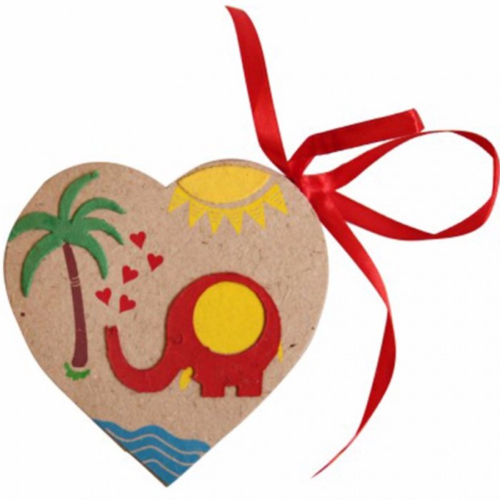 Haathi Chaap Red Elephant Heart Tags With Paper - Elephant Dung Paper