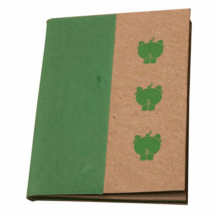 Haathi Chaap Soft Cover Ele Poo Green Notebook / 44 pages - Elephant Poo Paper and Handmade Cotton Paper