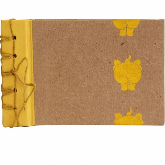 Haathi Chaap Die-Cut Yellow Coloured Photo Album / 20 Pages - Ele Poo Paper
