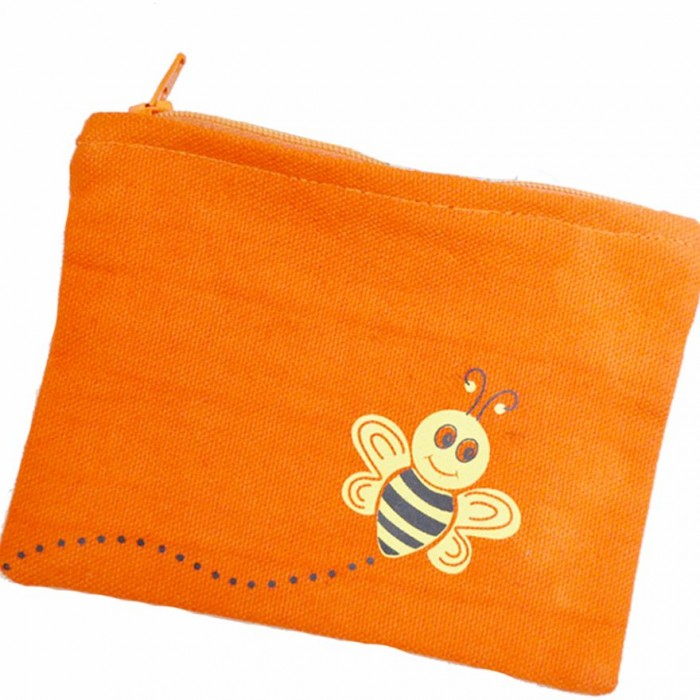 Haathi Chaap - Money Card Pouch - Orange Bee - Made From Special Mercerized Fabric - Printed