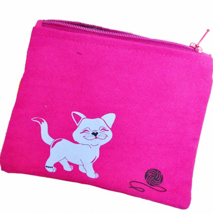 Haathi Chaap - Money Card Pouch - Pink Cat - Made From Special Mercerized Fabric - Printed
