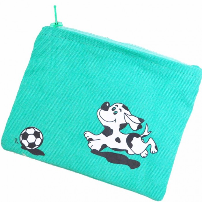 Haathi Chaap - Money Card Pouch - Green Dog - Made From Special Mercerized Fabric - Printed